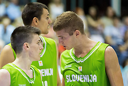 Matic Rebec of Slovenia and Edo Muric of Slovenia during friendly basketball match between National teams of Slovenia and Georgia in day 2 of Adecco Cup 2014, on July 25, 2014 in Dvorana OS 1, Murska Sobota, Slovenia. Photo by Vid Ponikvar / Sportida.com