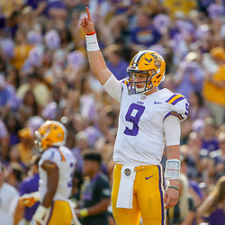 Sep 8, 2018; Baton Rouge, LA, USA; LSU Tigers quarterback Joe Burrow (9) before a game against the Southeastern Louisiana Lions at Tiger Stadium. Mandatory Credit: Derick E. Hingle-USA TODAY Sports