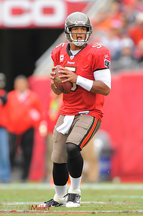 Tampa Bay Buccaneers quarterback Josh Freeman (5) runs up field against the Detroit Lions at Raymond James Stadium on Dec. 19, 2010 in Tampa, Florida. The Lions won 23-20 in over time...©2010 Scott A. Miller