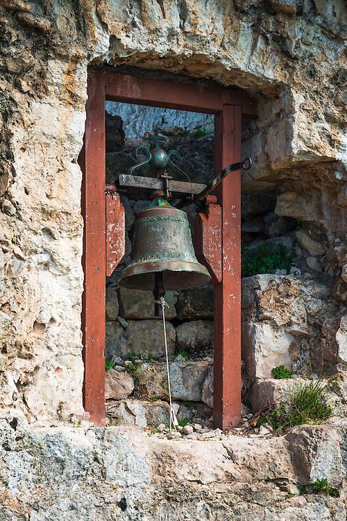 Bell at St. Michael's Fort (13th Century Venetian ruins) Ugljan Island, Dalmatian Coast, Croatia
