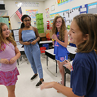 Ginny Parker, 10, from left, is joined by Harmony Crump, 13, Shelbie Simpson,12, and Abby Sanders, 10, as they work an improv scene as part of a theater camp put on by the Tupelo Public School District at parkway Elementary.