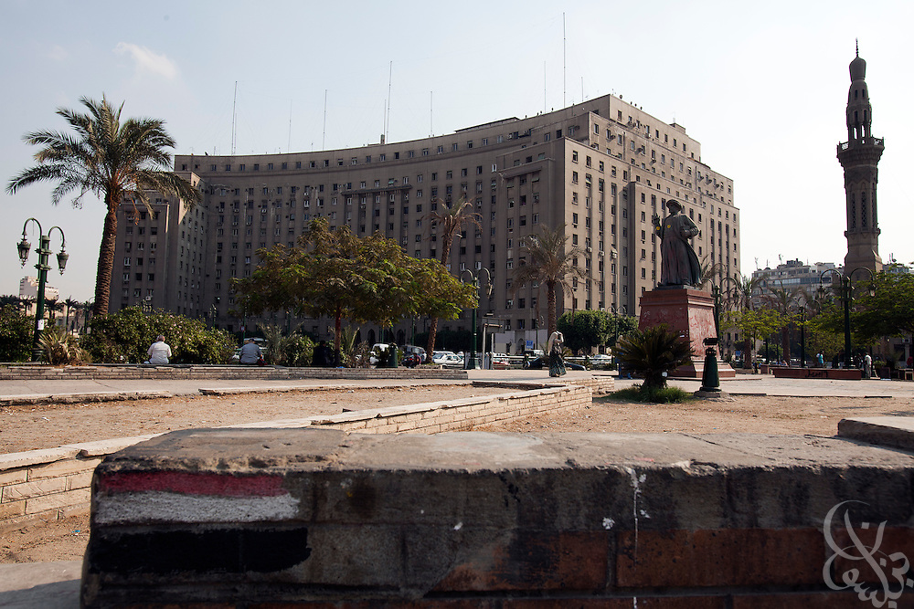 Revolutionary graffiti remains on a wall near the civic Mogamma building in Tahrir Square in central Cairo September 27, 2011. The building, which houses numerous government offices, is viewed as a corner stone of Egyptian bureaucracy.  (Photo by Scott Nelson)