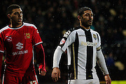 Daniel Powell and Hayden Mullins during the Sky Bet League 1 match between Notts County and Milton Keynes Dons at Meadow Lane, Nottingham, England on 26 December 2014. Photo by Jodie Minter.