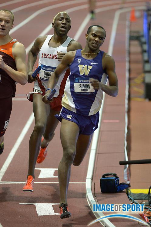 Mar 14, 2014; Albuquerque, NM, USA; Simon Meron runs the 800m leg on the Oregon distance medley relay in the 2014 NCAA Indoor Championships at Albuquerque Convention Center.