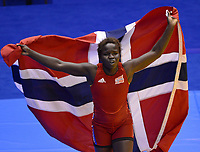 Bryting<br /> 26.08.2014<br /> Foto: imago/Digitalsport<br /> NORWAY ONLY<br /> <br /> NANJING, Aug. 26, 2014 -- Grace Jacob Bullen of Norway celebrates after winning women s freestyle 60-kg event of wrestling competition at Nanjing 2014 Youth Olympic Games in Nanjing, east China s Jiangsu Province, Aug. 26, 2014. Bullen won the gold medal