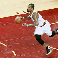10 June 2016: Cleveland Cavaliers guard J.R. Smith (5) brings the ball up court during the Golden State Warriors 108-97 victory over the Cleveland Cavaliers, during Game Four of the 2016 NBA Finals at the Quicken Loans Arena, Cleveland, Ohio, USA.
