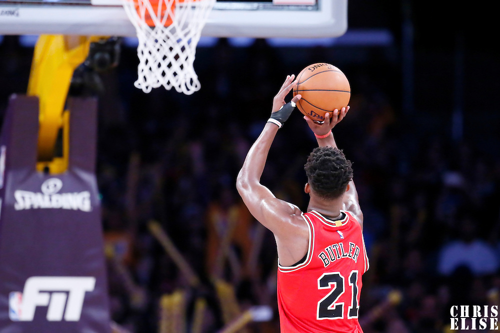 29 January 2015: Chicago Bulls guard Jimmy Butler (21) is seen at the free throw line during the Los Angeles Lakers 123-118 2OT victory over the Chicago Bulls, at the Staples Center, Los Angeles, California, USA.