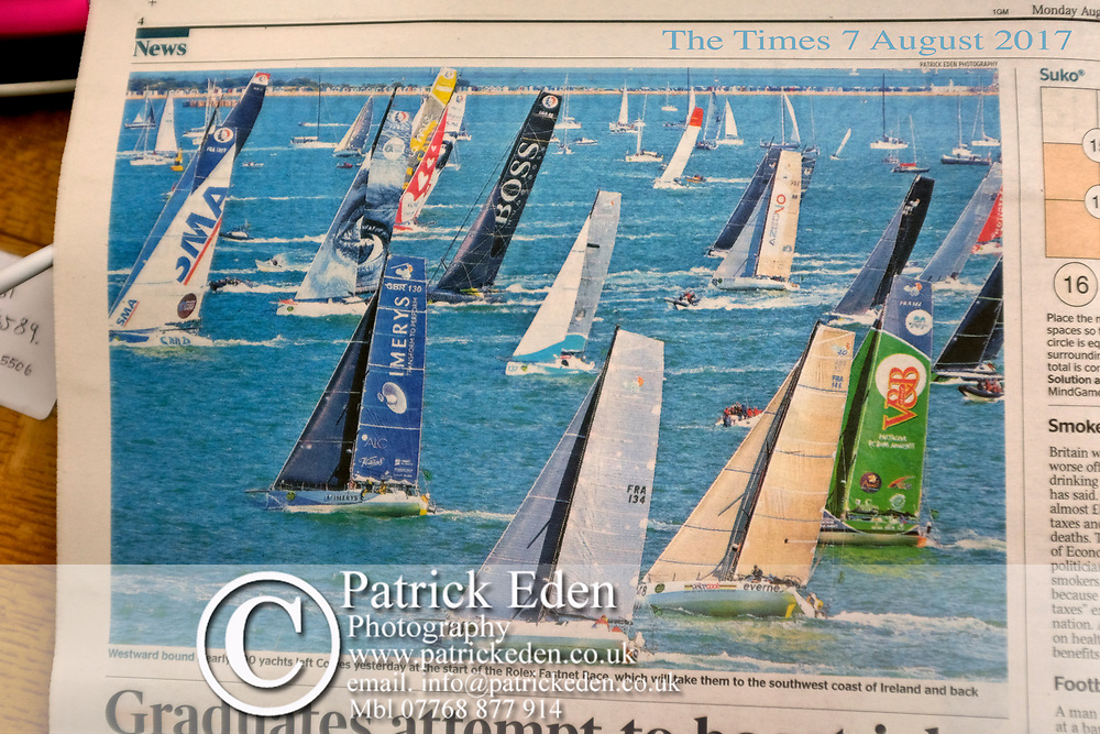 The Times, Monday 7th August 2017, Sunday 6th August. Start of the, 2017, Fastnet Race. Cowes. Isle of Wight. England. 2017, Rolex,