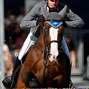 04.08.2018 The Longines Global Champions Tour Show jumping at The Royal Hospital Chelsea London UK Longines Global Champions Tour Grand Prix of London Won by Scott Brash GBR riding Hello Mr President <br /> Geir Gulliksen NOR riding Exit of Ice