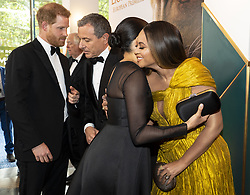 File photo dated 14/07/19 of the Duchess of Sussex embracing Beyonce at the European Premiere of Disney's The Lion King at the Odeon Leicester Square, London, as the PA news agency looks back on the royal couple's year.