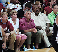 Jim Tressel and Jim Brown..Game 3 of the NBA Finals at Quicken Loans Arena in Cleveland. San Antonio Spurs at Cleveland Cavaliers.