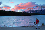 Photographer, Two Jack Lake, sunrise, Mt. Rendell,  Banff National Park