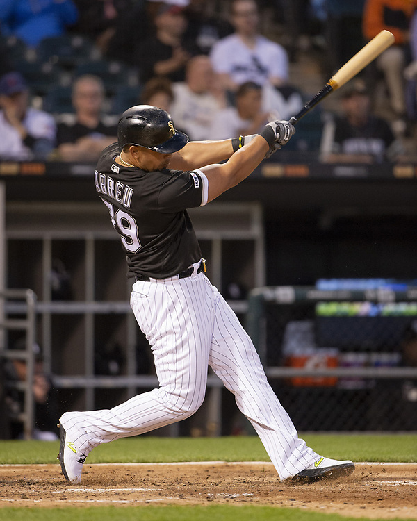 CHICAGO - MAY 30:  Jose Abreu #79 of the Chicago White Sox bats against the Cleveland Indians on May 30, 2019 at Guaranteed Rate Field in Chicago, Illinois.  (Photo by Ron Vesely)  Subject:  Jose Abreu