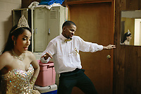 "Kamunte Fairley, 17, at right, dances with Tatianna Muñoz at Club Ki Yowga in East Chicago, Indiana. As part of Muñoz's combined quinceañera and Sweet 16, the duo practiced for weeks leading up to the celebration dance to Rihanna's ""Work."" 
