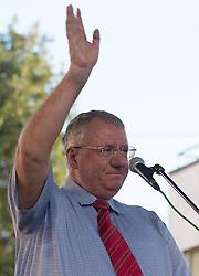 31.03.2016, Pancevo, SRB, SRB, Vojislav Seselj acquittal, im Bild 31.03.2016, Pancevo, SRB, Vojislav Seselj acquittal, im Bild // The head of the Serbian Radical Party and Chetnik military leader Vojislav Seselj held a campaign rally in Pancevo after the acquittal of the Hague Tribunal at Pancevo, Serbia on 2016/03/31. EXPA Pictures © 2016, PhotoCredit: #AGENTUR#/ Srdjan Ilic // #NAMESE# The head of the Serbian Radical Party and Chetnik military leader Vojislav Seselj held a campaign rally in Pancevo, after the acquittal of the Hague Tribunal at Pancevo, Serbia on 2016/03/31. EXPA Pictures © 2016, PhotoCredit: EXPA/ Pixsell/ Srdjan Ilic<br /> <br /> *****ATTENTION - for AUT, SLO, SUI, SWE, ITA, FRA only*****