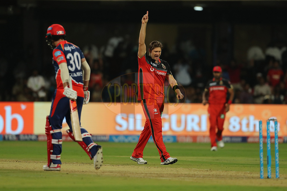 Shane Watson of the Royal Challengers Bangalore celebrates the wicket of Pat Cummins of the Delhi Daredevils during match 5 of the Vivo 2017 Indian Premier League between the Royal Challengers Bangalore and the Delhi Daredevils held at the M.Chinnaswamy Stadium in Bangalore, India on the 8th April 2017<br /> <br /> Photo by Ron Gaunt - IPL - Sportzpics
