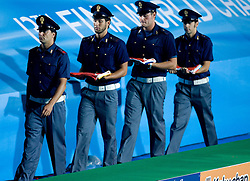 Official protocol after the Men's  Waterpolo Final match between National teams of Serbia and Spain during the 13th FINA World Championships Roma 2009, on August 1, 2009, at the Stadio del Nuoto,  in Foro Italico, Rome, Italy. Serbia won after penalties shootout 14:13.  (Photo by Vid Ponikvar / Sportida)