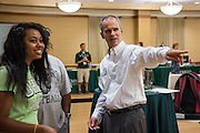 Doug Orr, left, Assistant Dean of University College welcomes a new student to Bobcat Student Orientation on Friday, June 5, 2015.  Photo by Ohio University  /  Rob Hardin