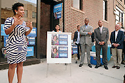 17 August- New York, NY:  (L-R) New York City Council Candidate Laurie Cumbo, New York State Assemblyman Walter Mosely, U.S. Congressman Hakeem Jefferies and New York City Council Member Jimmy Van Bramer attend the endorsement announcement by U.S.Congressman Hakeem Jeffries of Laurie Cumbo for City Council District 35 held at the Laurie Cumbo Campaign Headquarters in the Prospect Heights section of Brooklyn, NY on August 17, 2013 in New York City. © Terrence Jennings