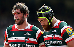 Dom Barrow of Leicester Tigers and Graham Kitchener of Leicester Tigers - Mandatory by-line: Robbie Stephenson/JMP - 15/04/2017 - RUGBY - Welford Road - Leicester, England - Leicester Tigers v Newcastle Falcons - Aviva Premiership
