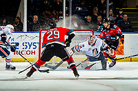 KELOWNA, BC - OCTOBER 12: Dylan Garand #31 of the Kamloops Blazers makes a first period save on a shot by Nolan Foote #29 of the Kelowna Rockets at Prospera Place on October 12, 2019 in Kelowna, Canada. (Photo by Marissa Baecker/Shoot the Breeze)