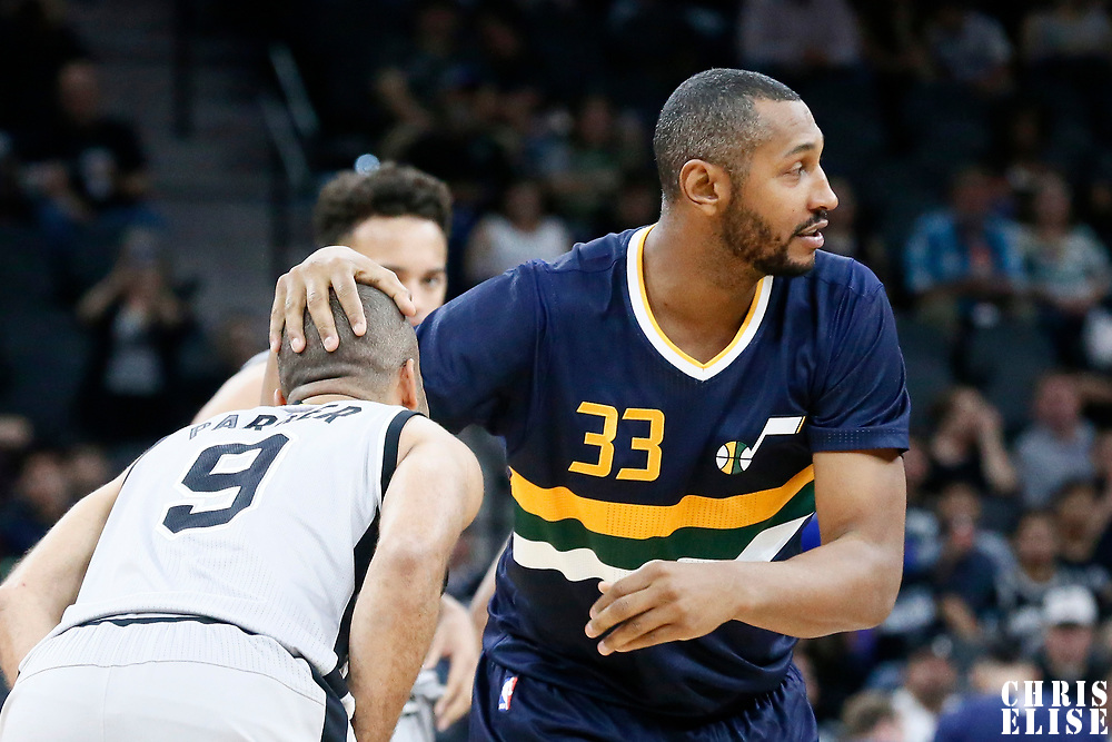 02 April 2017: San Antonio Spurs guard Tony Parker (9) is seen with Utah Jazz center Boris Diaw (33) during the San Antonio Spurs 109-103 victory over the Utah Jazz, at the AT&T Center, San Antonio, Texas, USA.