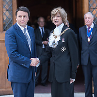 Foto Piero Cruciatti / LaPresse<br /> 02-10-2014 Londra, Gran Bretagna<br /> Politica<br /> Intervento del presidente del Consiglio Matteo Renzi presso la Guildhall <br /> Nella foto: Stretta di mano tra Matteo Renzi e Lord Mayor Alderman Fiona Woolf<br /> <br /> Photo Piero Cruciatti / LaPresse<br /> 02-10-2014 London, United Kingdom<br /> Politics<br /> Italian PM Matteo Renzi speaks at Guildhall <br /> In the photo: Handshake between Matteo Renzi and Lord Mayor Alderman Fiona Woolf