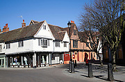 Half timbered Tudor buildings and old fashioned red pillar box, Silent Street, Ipswich, Suffolk, England