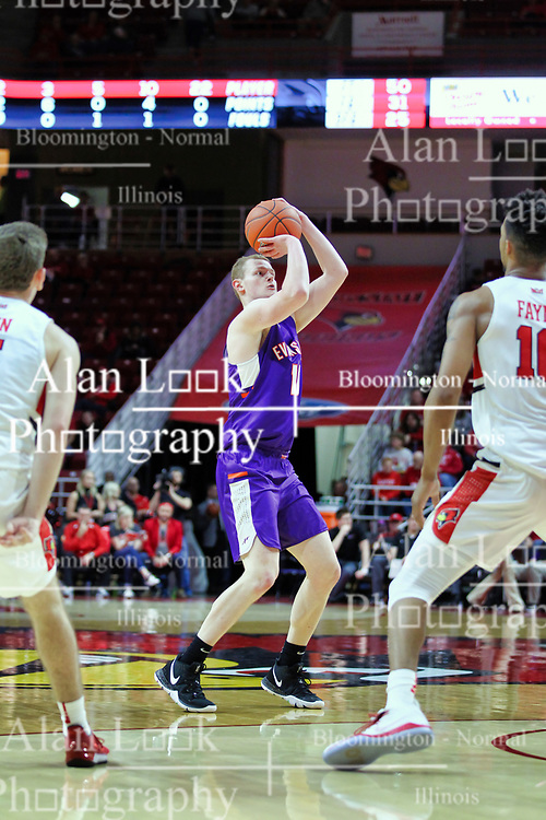 NORMAL, IL - January 05: Evan Kuhlman offers a 3 pointer during a college basketball game between the ISU Redbirds and the University of Evansville Purple Aces on January 05 2019 at Redbird Arena in Normal, IL. (Photo by Alan Look)