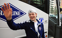 Andrej Hebar at Slovenian National team packing and going from Citadel Hotel to the Halifax airport, when they finished with games at IIHF WC 2008 in Halifax, on May 11, 2008, Canada. (Photo by Vid Ponikvar / Sportal Images)