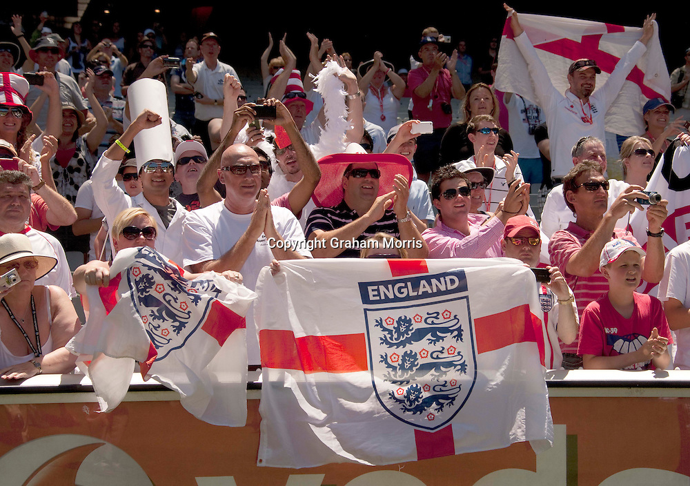 England fans celebrate the win during the fourth Ashes test match between Australia and England at the MCG in Melbourne, Australia. Photo: Graham Morris (Tel: +44(0)20 8969 4192 Email: sales@cricketpix.com) 29/12/10