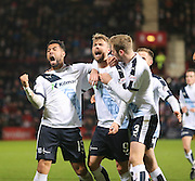 Dundee&rsquo;s Rory Loy celebrates his equalising goal with Kane Hemmings and Kevin Holt - Hearts v Dundee - SPFL Premiership at Tynecastle<br /> <br />  - &copy; David Young - www.davidyoungphoto.co.uk - email: davidyoungphoto@gmail.com