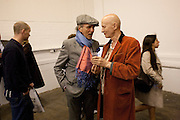 David Shilling; Richard O'Brien, Welcome to Mollywood. New paintings by Molly Parkin. RED, 1-3 rivington st. london. 27 April 2011. <br /> <br /> -DO NOT ARCHIVE-© Copyright Photograph by Dafydd Jones. 248 Clapham Rd. London SW9 0PZ. Tel 0207 820 0771. www.dafjones.com.