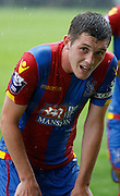 Connor Dymond shows the strain in the rain during the Final Thirds Development League match between U21 Crystal Palace and U21 Watford at Selhurst Park, London, England on 24 August 2015. Photo by Michael Hulf.
