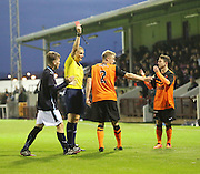 Dundee United defender Euan Spark (2) is red carded for a second bookable offence - Dundee v Dundee United, SPFL Development League at Gayfield, Arbroath<br />