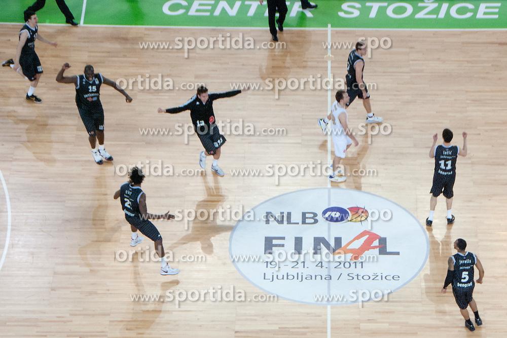 Partizan players celebrating victory during final match of Basketball NLB League at Final Four tournament between KK Union Olimpija (SLO) and Partizan Belgrade (SRB), on April 21, 2011 at SRC Stozice, Ljubljana, Slovenia. (Photo By Matic Klansek Velej / Sportida.com)