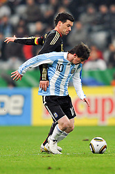 03.03.2010, Allianz Arena Muenchen, Muenchen, GER,  Laenderspiel Deutschland ( GER ) - Argentinien ( ARG ) im Bild  Michael Ballack ( GER / Chelsea #13 ) - Lionel Messi ( ARG #10). EXPA Pictures © 2010, PhotoCredit: EXPA/ nph/  Kurth / for Slovenia SPORTIDA PHOTO AGENCY.
