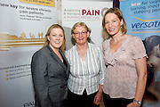 Michelle  Cosgrove, Grunenthal , Nancy Ruane UCH and Mary Merrick , Limerick Regional at the Radisson Blu, Galway for the Assessing & Managing Pain, A Nursing Perspective lecture. Photo:Andrew Downes