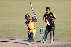 Mangaliso Mosehle of Gauteng hits over the top for six during the Africa T20 cup pool D match between Boland and Gauteng held at the Boland Park cricket ground in Paarl on the 25th September 2016.<br /> <br /> Photo by: Shaun Roy/ RealTime Images