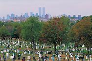 Trinity Cemetery and Manhattan Skyline, Brooklyn, New York City, New York, USA
