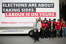 © Licensed to London News Pictures. 03/05/2016. London, UK.  Labour Party Leader Jeremy Corbyn (L) launches an election poster ahead of local and mayoral elections to be held on Thursday May 5th 2016.  Photo credit: Peter Macdiarmid/LNP