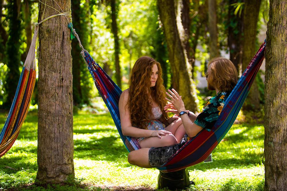 SARASOTA, FL -- August 21, 2016 -- Students at New College of Florida enjoy the hammocks outside the residence halls during orientation week for the start of the 2016-17 academic year. (PHOTO / New College of Florida, Chip Litherland)