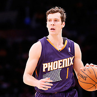 10 December 2013: Phoenix Suns shooting guard Goran Dragic (1) brings the ball upcourt during the Phoenix Suns 114-108 victory over the Los Angeles Lakers at the Staples Center, Los Angeles, California, USA.