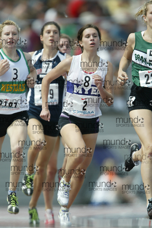 (London, Ontario}---05 June 2010) Michelle Molodynia of A.N. Myer - Niagara Falls competing in the 800m final at the 2010 OFSAA Ontario High School Track and Field Championships in London, Ontario, June 05, 2010 . Photograph copyright Sean Burges / Mundo Sport Images, 2010.