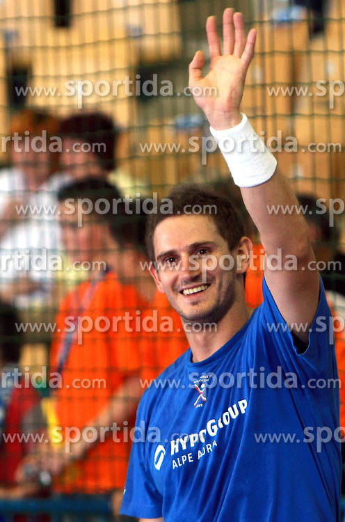 Bostjan Kavas of Slovenia before  handball game between men national teams of Slovenia and Slovakia, first qualification game for the World Chamionship 2009, on June 7, 2008, in Arena Zlatorog, Celje, Slovenija. Result: 33 : 33. (Photo by Vid Ponikvar / Sportal Images)