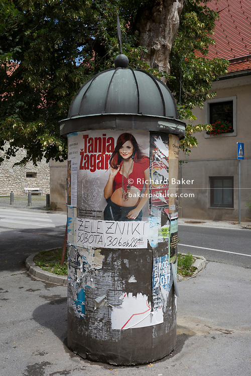 Slovenian pop star Tanja Zagar appears on a poster display in a rural central Slovenian town, on 25th June 2018, in Skofja Loka, Slovenia.