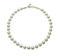 Pearl necklace on white background