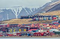 Colorful buildings of Longyearbyen on the Svalbard archipeligo in Spitsbergen, Norway.