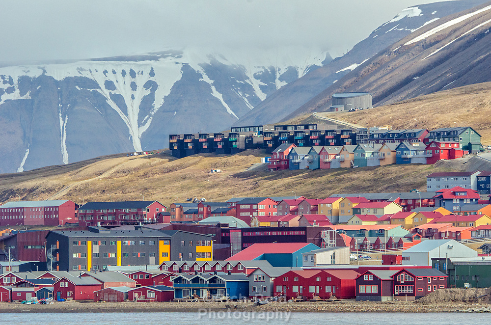 Colorful buildings of Longyearbyen on the Svalbard archipeligo in Spitsbergen, Norway.