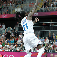 30 July 2012: Emilie Gomis of France goes for the layup during the 74-70 Team France overtime victory over Team Australia, during the women's basketball preliminary, at the Basketball Arena, in London, Great Britain.
